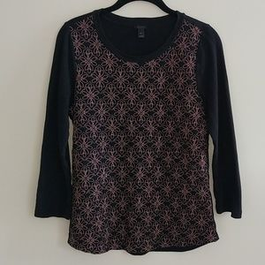 J Crew Pullover Top Embroidered Floral Pattern S